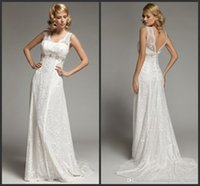 Wholesale MK03159 Lace Sheer Straps Wedding Dress Sexy Beads Appliques Backless Pleats Vintage A Line Bridal Gowns