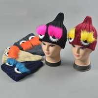 baggy eyes - Autumn Winter Women Ladies Crochet Caps Knitted Eye Pattern Hat Fashion Street Hats Girls Braided Baggy Warm Hats Knitting Wool Cap ZJ H91