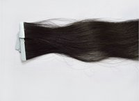 glue in hair extensions - All Cuticle Same Direction Double Drawn Indian Remy Human Seamless PU Tape In Glue Skin Weft Hair Extensions Jet Black