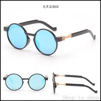 Nuevas gafas de sol redondas de metal retro azul de los hombres de plata lentes de sol de espejo de oro de la vendimia de los vidrios UV400 gafas de partido de las mujeres Gafas de sol