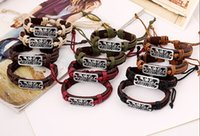 Wholesale 2015 latest version punk style genuine leather bracelet handmade man woman PUERTO RICO rope adjustable bracelet