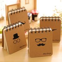 Wholesale 300pcs Retro Design Men Style loose leaf Memo Pads Coil Book Portable Pocket Notebook Diary Notepad Size cm