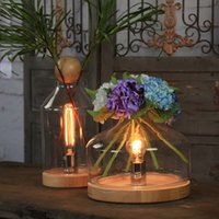 art book stores - 1PC S L Wood Base Glass Shade Flower Vase Table Lamps Coffee Store Decorative Light Wedding Decor Creative DIY Book Night Light order lt no