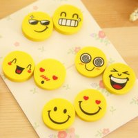 Wholesale 50 Cute smiling face eraser emoji erasers smile lovely eraser funny face eraser smile style rubber Kids gift creative stationery