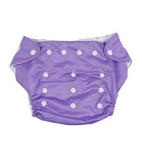 Wholesale 10pcs Purple Polyester Waterproof Nappies Baby Kid Nappy Cover Wrap Button Breathable Diaper Reusable DLG7