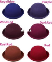 Wholesale Fashion Hot Vintage Women Lady Cute Trendy Wool Felt Bowler Derby Fedora Hat Cap Hats Caps