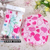 Wholesale Boutique disposable stamp pack shower cap hair shampoo bath cap portable cleaning supplies