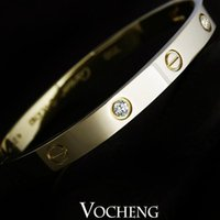 cz stones - Brand Bangle Bracelet Fast Colors K Gold New Trendy Screw Design Stainless Steel With CZ Stones VB Vocheng Jewelry