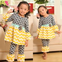 ruffle pants - Hot Selling Set Cotton Clover Infant Toddler Baby Girls Ruffles Outfits Sets Baby Clothes Sets Top Pants Sets