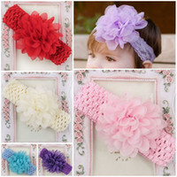 Wholesale 16Pcs Lovely Colorful Flower Baby Girl Hair Band Beauty Baby Accessories Stretchy Knit Ribbon Baby Headwear