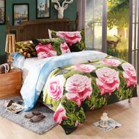 Cheap Russia's Size 3D bed set rose printed bedding romantic Bedspreads bedclothes twin 3d bed set duvet bed sheet set luxury bed linen 5pcs