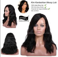 beach wavy - Premierlacewigs Kim Long Bob Beach Messy Wave A Brazilian Virgin Human Hair Silk Base Glueless full Lace Front Wigs For Black Women