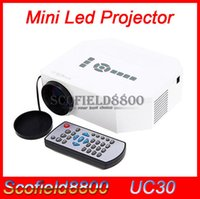 Wholesale UC30 P Portable Mini Projector Lumens Multimedia LED LCD with HDMI VGA AV USB SD Slot for android cell phone Smartphone iPhone iPad