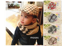 baby beanie - 2014 New Classical Grid Berets CAPS Baby Boys Girls Spring Baby Hats England Style Caps Baby Beanie Hats pc Have Stock