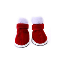 Wholesale 5cm New Style Lovely Christmas Dog Shoes Soft Plush Casual Pet Shoes Keeping Warm Red Boots For Dog On Cheap Sale
