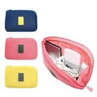 Wholesale Portable Organizer System Kit Case Storage Bag outdoor digital products data cable headset package shockproof blue pink