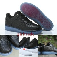 ice box - Drop Shipping Cheap Famous Air Force CMFT LUX Low Ostrich Leather Black Ice Mens Sports Running Shoes Athletic shoes Size