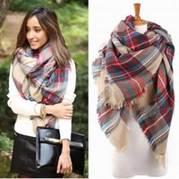 Wholesale Holesale Fashion colorful Graid Scarf Wrap Shawl Plaid Cozy Checked Beige Women Blanket Oversized Tartan Scarves