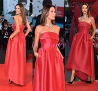 alessandra ambrosio - 2015 Venice Film Cannes Celebrity Dresses Alessandra Ambrosio Red Carpet Hi Lo Strapless Arabic Muslim Red Satin Formal Evening Dresses