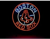 advertising baseball - HOT BOSTON RED SOX LOGO NEON SIGN HANDICRAFTED REAL GLASS TUBE BASEBALL GAME ROOM ADVERTISING DISPLAY NEON SIGNS FREE DESIGN quot x15 quot