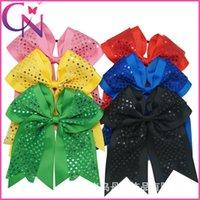 big cheer bows - European boutique bow hair bows inch big bowknot shining cheer bow baby hair headband baby girls hair accessories hair band princess