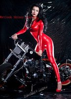 Wholesale I Glam Women s Fetish Wear Wetllook Shinny Leather Catsuit Bodysuit Red CA