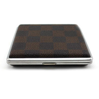 Wholesale Men s Classic Plaid Pattern PU Leather Stainless Steel Cigarettes Holder Case
