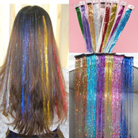 clip in hair - 10 Bling headwear Shinning Clip in Hair Extensions Popular Hair Slice of Hair Tinsel Colorful cm Hairpieces Colors Available