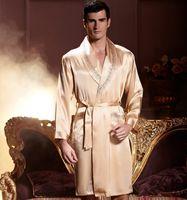Wholesale 2015 spring and autumn night robe male silk satin nightgown pyjamas
