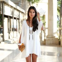 Wholesale Women Loose V neck Long sleeved Chiffon A Line Dress White European and American Plus Size New Brand Dress WQ0303