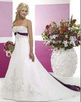A-Line purple wedding dress - Hot Sale Long White and Purple and A Line Wedding Dresses Strapless Lace up Chapel Train Embriodery Beads Elegant beautiful Bride GownsYQ