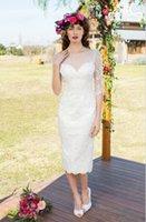 Wholesale 2015 Latest Style Custom New White Ivory Scoop Neckline Half Sleeve Sheath Tea Length Lace Vintage Short Wedding Dresses Bridal Gowns W1222