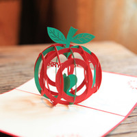 Wholesale 10pcs Santa Fesitival Decprations D Hollow Kirigami Apple Style Pop Up Postal Cards Christmas Blessing Cards HX535
