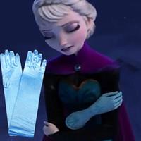 Finger Gloves Girl 2-15 Y full finger gloves frozen elsa gloves kids gloves costume Long Blue gloves snow Queen Elsa Cartoon Party Costumes children's gloves warmers