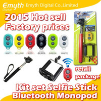 Wholesale 3 in kit set Bluetooth Remote Shutter Phone Clip Camera mobil phone Selfie Stick Monopod For iPhone IOS Samsung Android with retail box