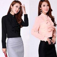 Wholesale Office Lady Fashion Chiffon Shirts Size S XL Ruffled Design Black White Tops Summer Women Casual Career Blouse