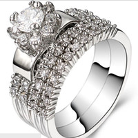 Wholesale size Rhodium Wedding Ring Engagement Halo Valentine Anniversary Sterling Silver Cubic Zirconia Crystal