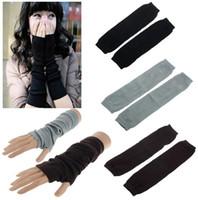 Wholesale 1pair Top New Fashion Autumn Winter Mitten Warm Unisex Hand Arm Crochet Knit Long Stretchy Fingerless Gloves Warm Free