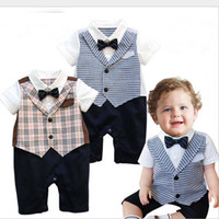 baby boys - 2015 Summer Gentleman Short Sleeve Plaid Bow Tie Baby Boy Romper Climbing Clothes Infant Rompers Babies Clothings