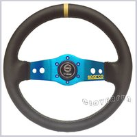 Wholesale Universal SPC quot MM Real Leather Racing Steering Wheel w BLACK BLUE Horn Ring