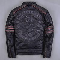 Wholesale 2016 Men Retro Vintage Leather Biker Jacket Embroidery Skull Pattern Black Slim Fit Men Winter Motorcycle Coat