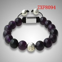 Wholesale natural stone Violet Crystal beads hand made fashion bracelets shamballa nialaya bracelet whosale ZXF8094