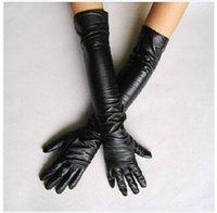 Wholesale Elegant Black New Faux Long Leather Gloves Women s Winter Autumn Warm Outdoors Long Design Gloves