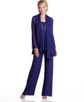 chiffon jacket - 2015 Spring Summer Mother of the Bride Dresses Long Sleeves Plus Size Chiffon Purple Pant Suits With Jacket Custom Made Wedding Groom Cheap