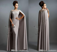 coral coral necklace - 2015 Elie Saab Evening Dresses Muslim Long Formal Celebrity Gowns With Cape Grey Sliver Sleeves Necklace Cheap Prom Dresses Evening Wear