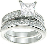 Wholesale Luxury Size KT white gold filled Princess Cut Topaz Wedding Engagement Ring Set
