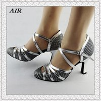 Wholesale Latin Dance Shoes Salsa Shoes Women Ballroom Dancing Shoes Ladies Glitter Silver Comfort Customized Heels
