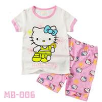 Wholesale Summer Kids Boys Girls Cartoon Pajamas Children Kitty Sleeping Clothing Top Suits Short Sleeve Sleepwear Sets Baby Outfit Seals168 ZS B30