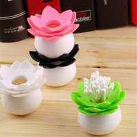 Wholesale 1pc Fashion Colors Lotus Home Decor Toothpick Cotton Swab Holder Storage Box Pick Toothpick case EJ870661