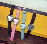 Wholesale Bracelets Watches Hight quality Inverted Triangle Women dress watch Rounded Wristwatches for unisex men leather strap watch clock hours free